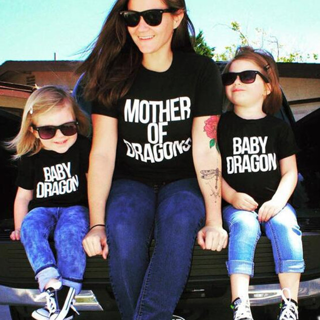 Game of Thrones Mother of Dragons Family Casual Fashion Short Sleeves T-shirt For Women and Kids