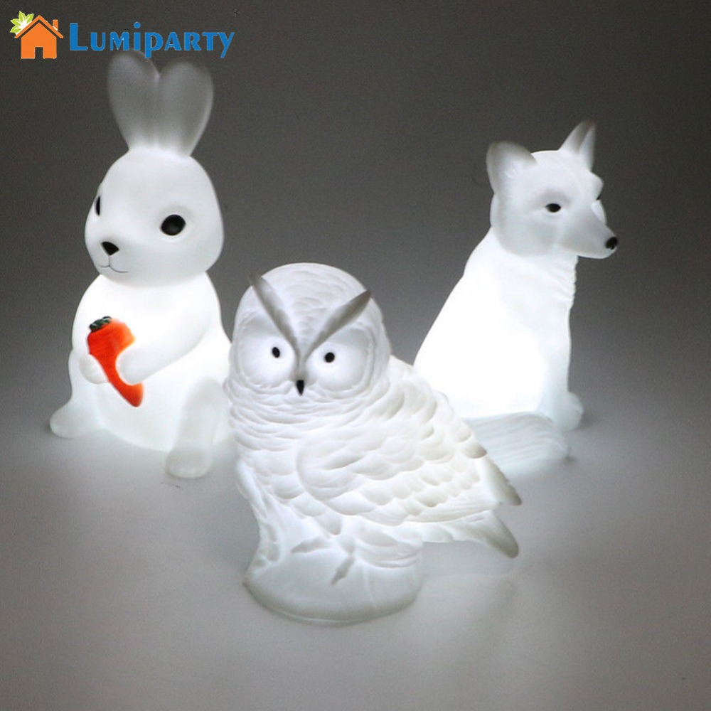 Adeeing Led Lovely Creative Night Lamp High Quality Rabbit Fox Owl Lights High Quality Silicone Dolls Nightlight Baby Bedroom Good For Energy And The Spleen Led Lamps Led Night Lights