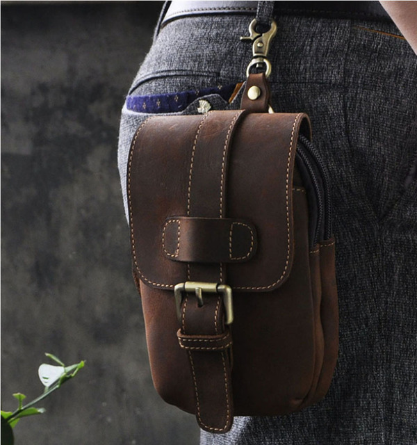 Men Vintage Genuine Leather Cowhide Cell Mobile/Phone Case Cover Skin Belt Fanny Waist Bag