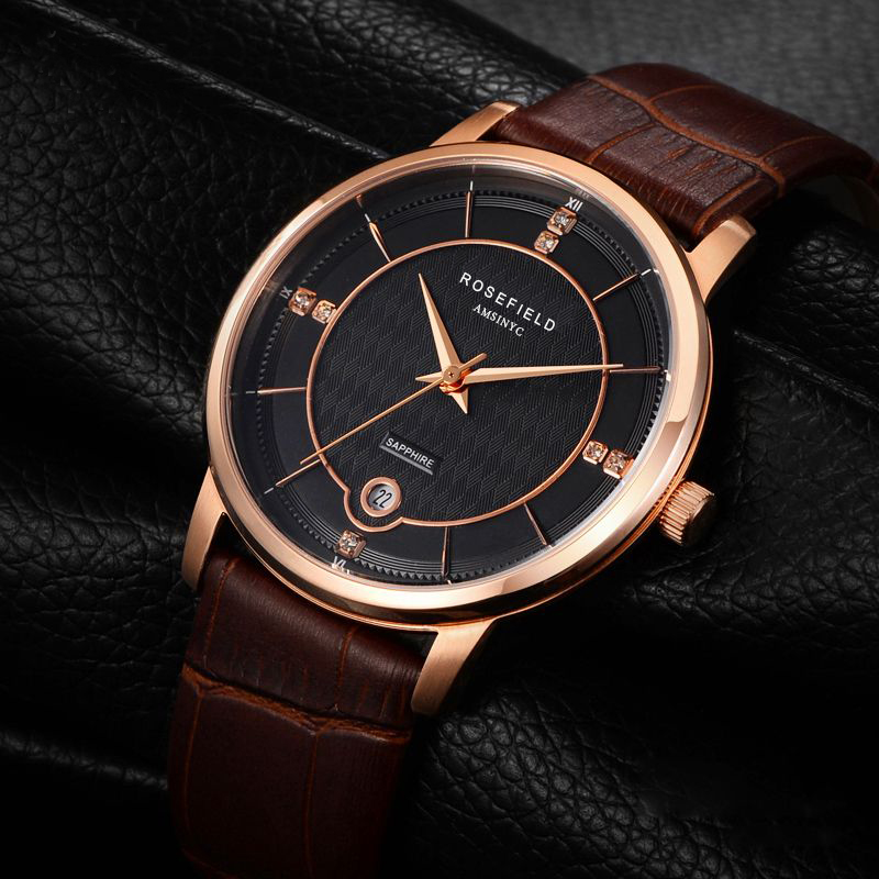 2017 Women Watch Top Fashion Brand Female Clock Gold Case Calendar Display Real Leather Strap Waterproof Wristwatches Hot Sale real amount of ceramic fashion set auger waterproof quality precision rotary calendar watch brand man woman a good watch