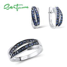 SANTUZZA komplet biżuterii damskiej czysta 925 Sterling Silver Blue Nano Cubic cyrkonie kolczyki zestaw pierścieni delikatna biżuteria
