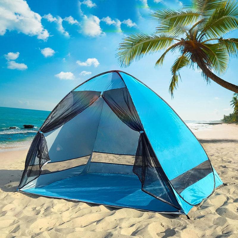 Tente d'ombrage de plage Anti-moustique avec gaze protection UV camping automatique tente de plage portable extérieure avec rideau en maille