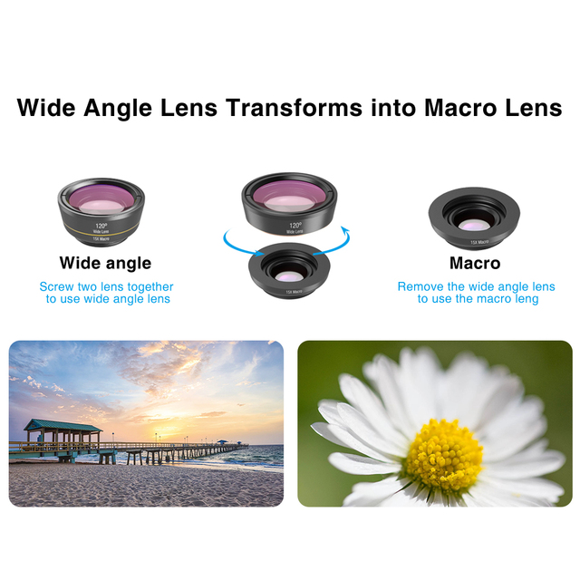 APEXEL 6 in 1 Phone Camera Lens Fisheye Lens Wide Angle macro Lens CPL Star Filter 2X telescope for Samsung Huawei all phones 4