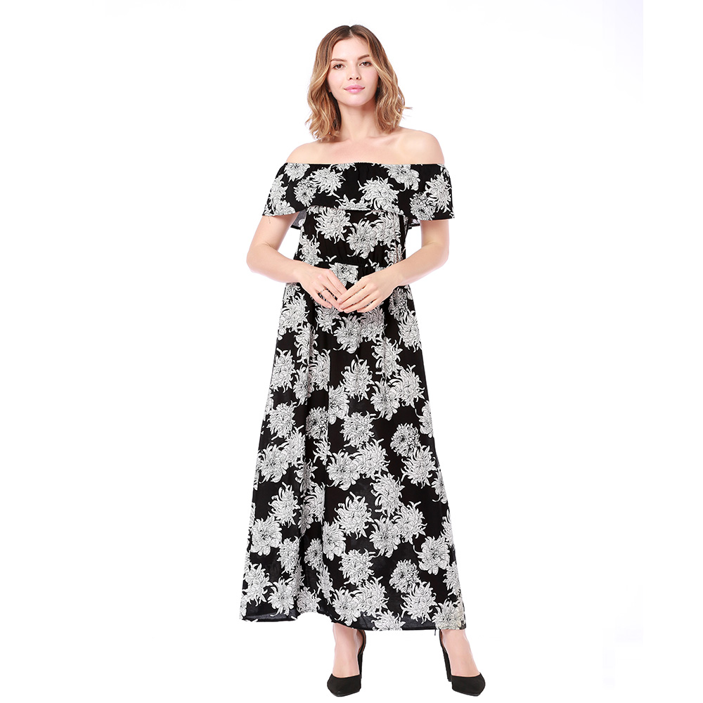 Summer long maxi dresses women one line shoulder beach dress holiday clothes casual style womens clothing low price hotsale fas in Dresses from Women 39 s Clothing
