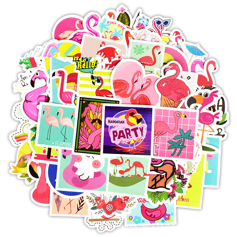 50 PCS Lovely Dream Cartoon Girl Stickers Flamingos Sticker for Kids DIY Notebook Fridge Guitar Laptop Luggage Bicycle Stickers