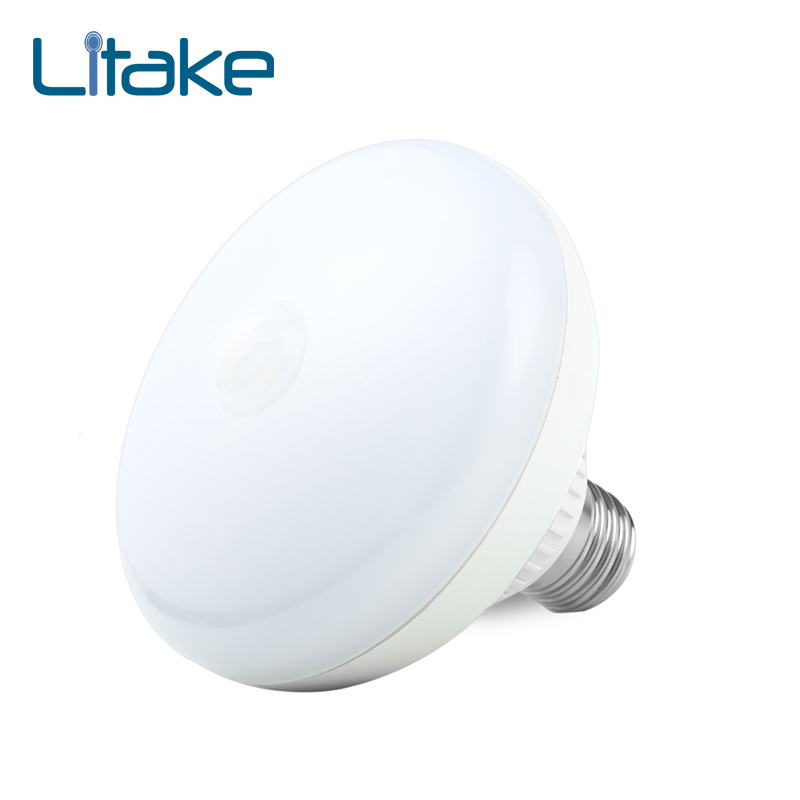 Litake LED Lamp E27 12w LED Infrared Motion Detection Light Auto Switch Stairs Night Lights Warm White Motion Sensor Lamp цена