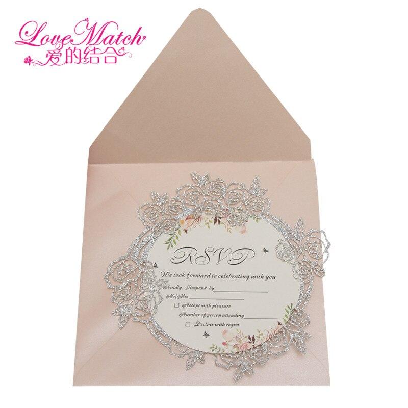 4 1set Sample Glitte Paper Invitation Card Flower Shape