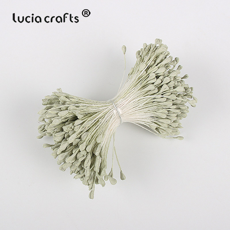 Image 2 - Lucia crafts 330pcs 3mm high quality Matte  double heads flower stamen pistil cake decoration craft DIY C1202-in Artificial & Dried Flowers from Home & Garden