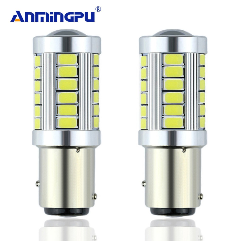 цена на ANMINGPU 2x P21/5W LED Car Light BAY15D led Bulb 1157 Tail Signal Brake Stop Reverse DRL Light 5W 12V 3014 33 led smd Yellow Red
