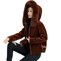 Autumn Clothing Female 2018 New Winter Woolen Coats Korean Fur collar imitation sheep shearing small short hooded Jackets ky322
