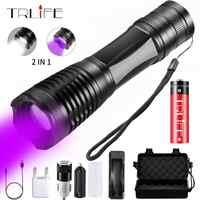 2 em 1 lanterna uv led linternas tocha 395nm ultravioleta detector de urina luz para acampamento tapete pet urina captura scorpions