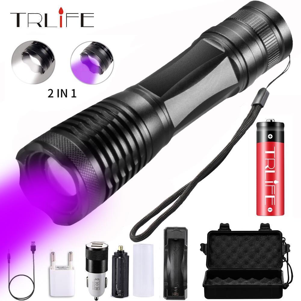 2 In 1 UV Flashlight LED Linternas Torch 395nm Ultraviolet Urine Detector Light For Camping Carpet Pet Urine Catch Scorpions