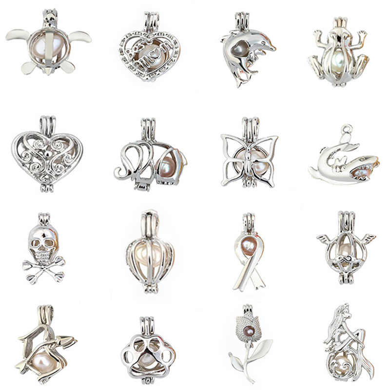 Жемчужная клетка ювелирных изделий лягушка медальон кулон эфирное масло медальон со светорассеивателем для устричная жемчужина женщин мужчин ожерелье цепь
