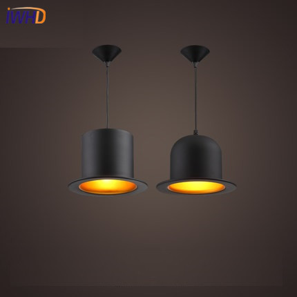 IWHD Vintage Industrial Pendant Light Fixtures Loft Style Hat Hanglamp Kitchen Black Retro Hanging Lamp Dining Room Luminaire iwhd vintage hanging lamp led style loft vintage industrial lighting pendant lights creative kitchen retro light fixtures
