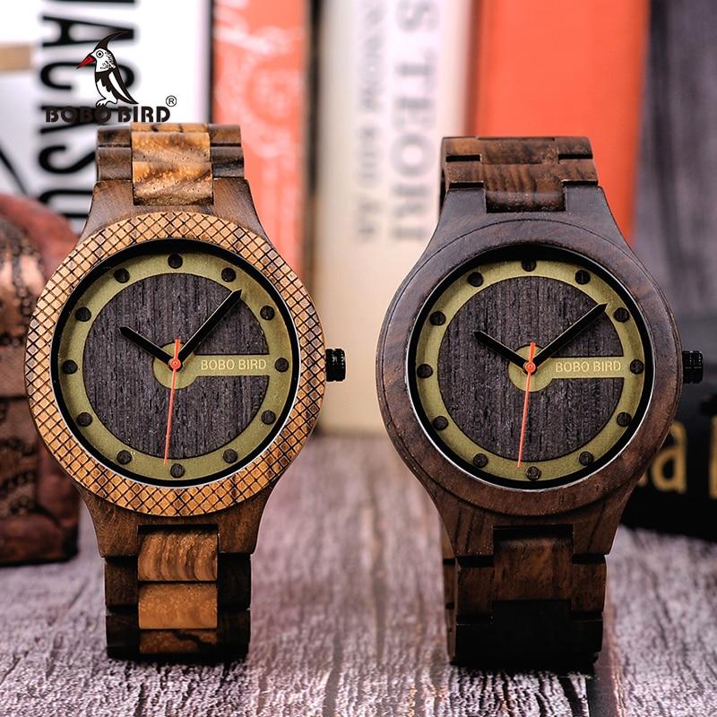 37109c2a1c0 BOBO PÁSSARO New Arrivals Relógios Men Quartz relógio de Pulso Presente De  Madeira para o Amigo