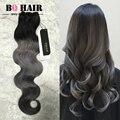 BQ 8A Pelo Brasileño Ombre Hair Color de Moda Gris Oscuro Belleza Para Siempre 3 Bundles Onda Del Cuerpo Pelucas de Alibaba expreso Sinteticas
