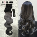 BQ Hair Fashion Color Dark Grey Ombre Brazilian Hair 8A Beauty Forever 3 Bundles Body Wave Alibaba-express Pelucas Sinteticas