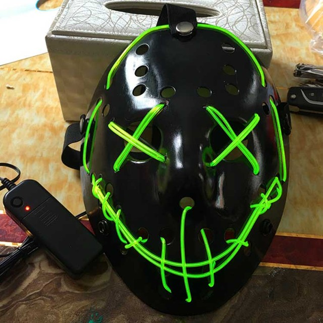 EL Wire Glowing Skull Mask Ghost Slit Mouth Light Up Halloween ...