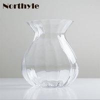 Simple glass flower vase clear vase artificial tulip Flowers bottle Home decoration glass vase for Wedding Decoration