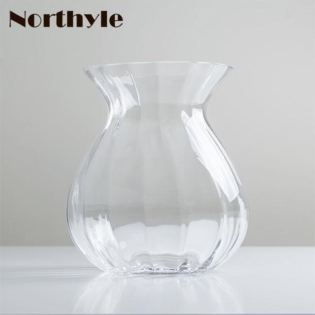 Online Shop Simple Glass Flower Vase Clear Vase Flower Bottle Home