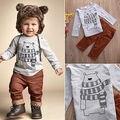 2 pçs/set Kid Baby Boy Casual Urso impresso T-shirt + Calças Compridas outono inverno Outfits Clothes Set crianças roupas freeshipping