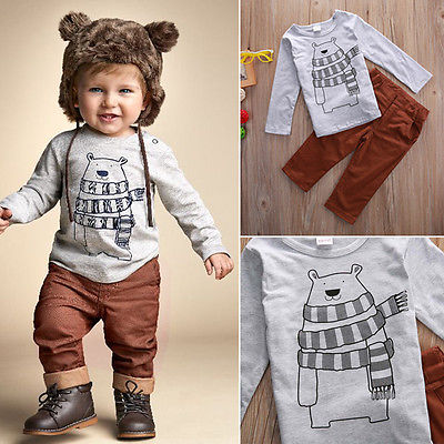 2pcs/set Kid Baby Boy Casual Bear printed T-shirt+Long Pants autumn winter Outfits Clothes Set children clothing freeshipping