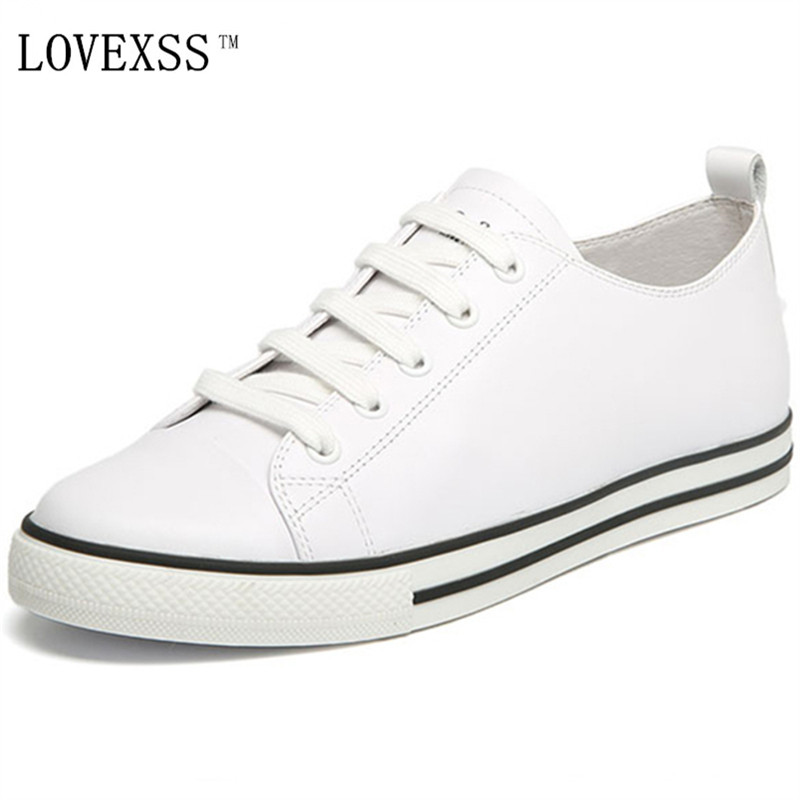 LOVEXSS Genuine Leather White Shoes Woman Lace-Up Flat Platform 2017 Flat Platform Round Toe Casual Black White Women Flats 2017 new women shoes genuine leather casual shoes flats breathable lace up soft fashion brand shoes comfortable round toe white