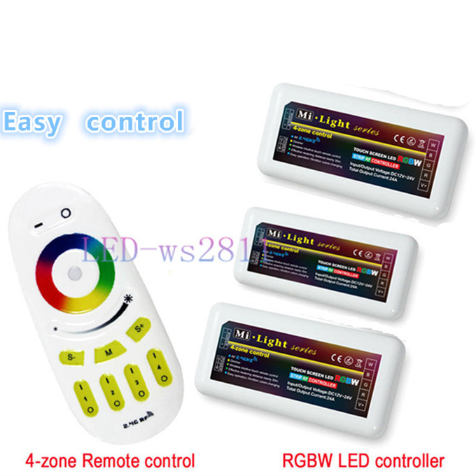 2.4G Wireless RF Remote Controller and 3PCS RGB RGBW 4-zone RGB LED Controller DC12-24V For 5050 3528 Led Flexible Strip Light