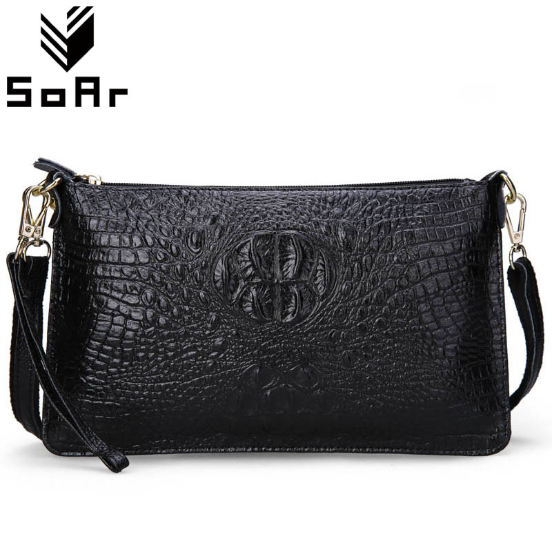SoAr Women Bag Genuine Leather Crocodile Pattern Handbags Women Messenger Bags Crossbody Female Small Shoulder Bag Clutch Brand freeshipping 2016 genuine leather man small bag vintage clutch bag crocodile pattern leather men messenger bags 7267c
