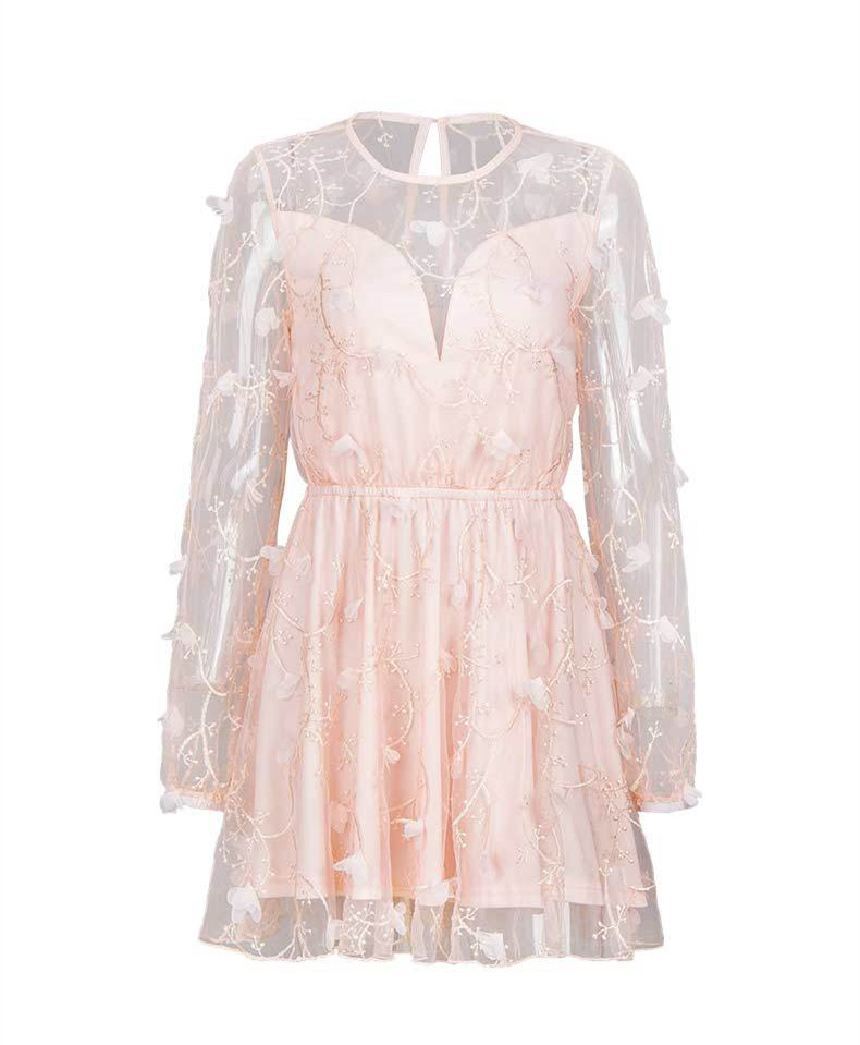 Casual Beach Embroidery Pink Short Dress