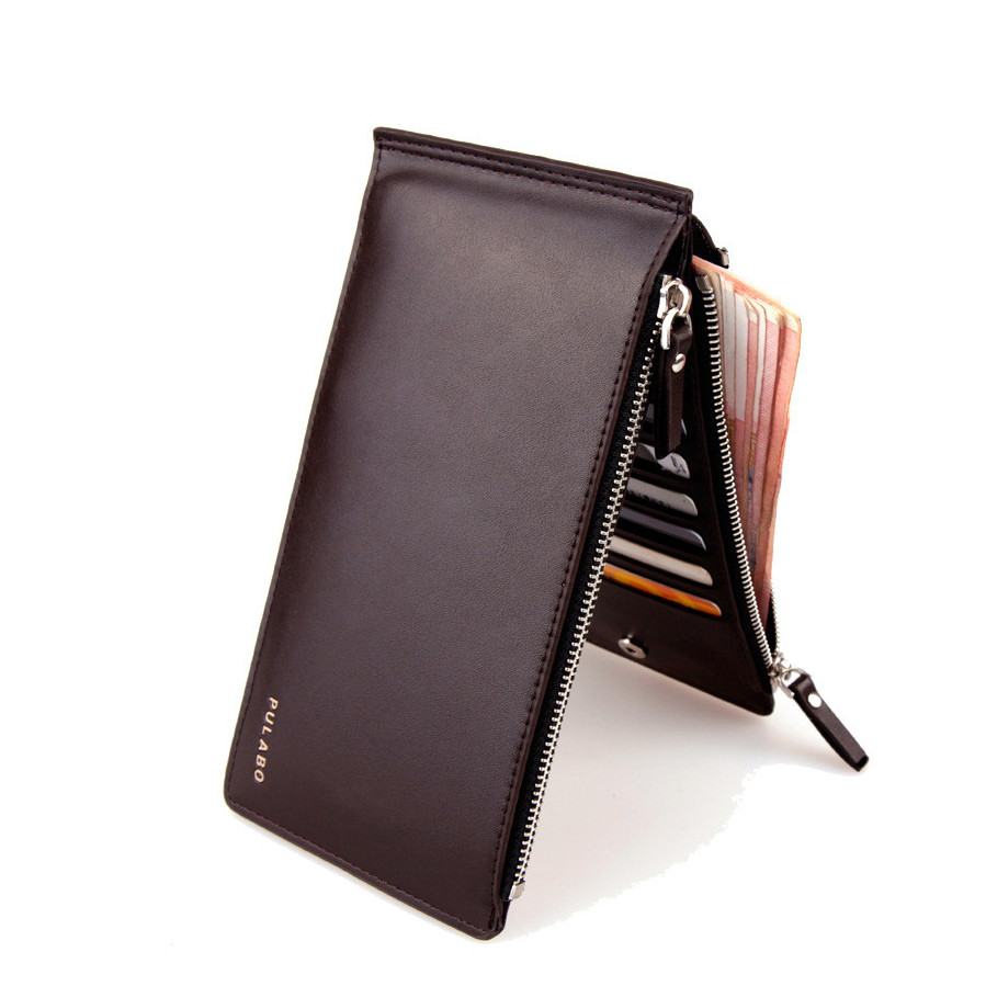 2016 Men Leather Wallet Clutch Double Zipper Mens Bifold Wallets Coin Purse Business Credit Card Holder carteira masculina J423 american vintage 2 heads wall lamp indoor lighting bedside lamps double wall lights for home 110v 220v e27