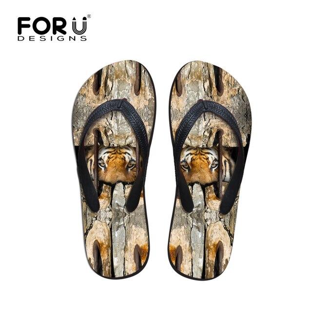 Estate Uomo Infradito Sandali Casual Scarpe Da Uomo Tigre Animale Stampato  Fashion Beach Flip Flops Sapatos 116479c4119