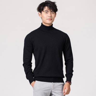 Кашемировая водолазка мужская, мужской свитер, одежда для осени и зимы, свитера цвета Омбре, пуловер для мужчин с высоким воротником - Цвет: Черный