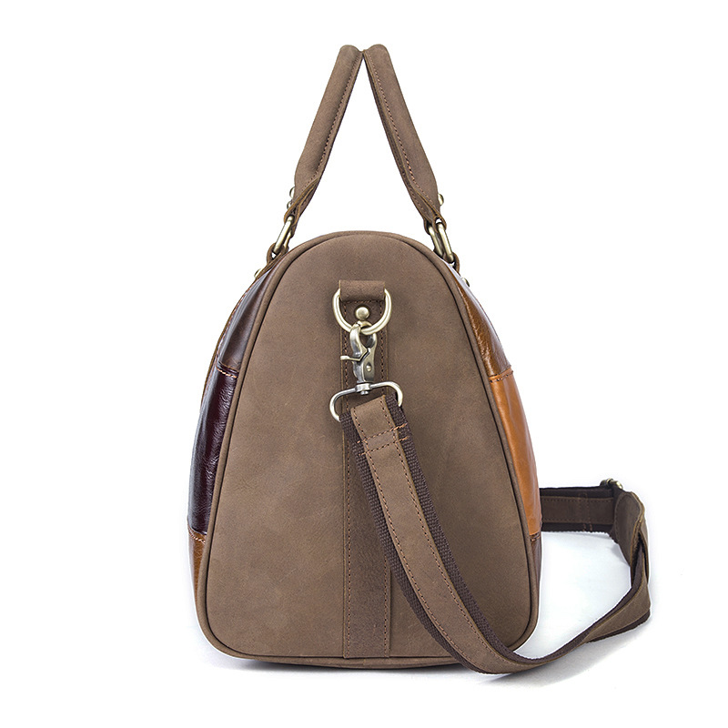 Men Genuine Leather Travel Bag Male Bags Vintage Duffle Handbag Mens Big Luggage Business Bag Retro Pattern Large Duffel Bags