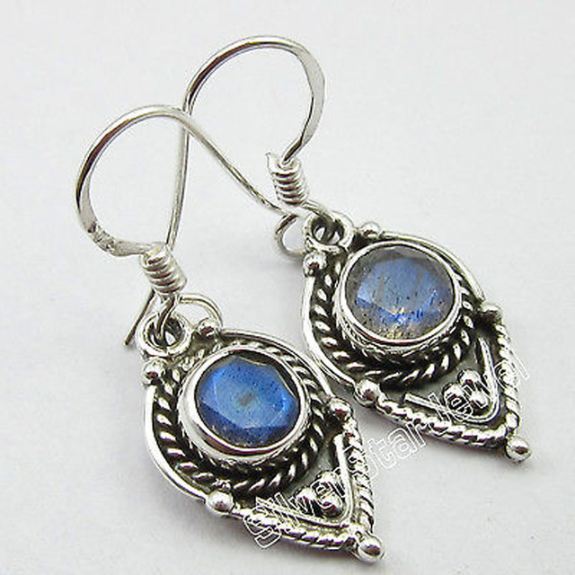 Art Retro !!  Pure Silver BLUE FIRE LABRADORITE ANTIQUE STYLE Earrings 3.3 CM