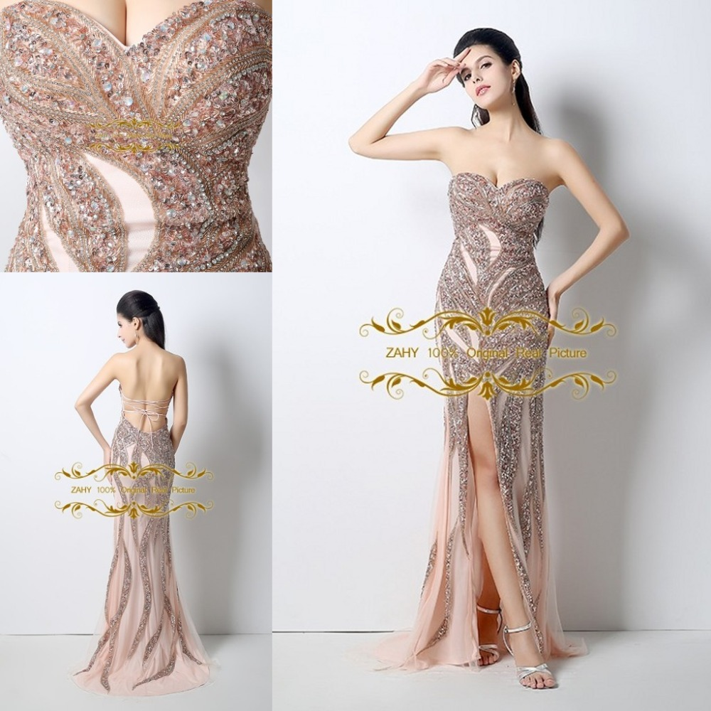 b08964fe3fe Online Shop Exquisite Decoration Free Shipping Prom Dresses Mermaid Sweetheart  Beading Floor Length High Slit Celebrity Party Dress HY133