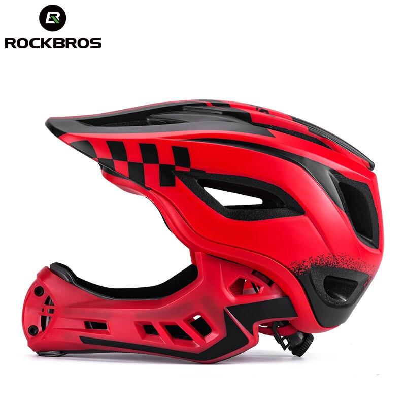 ROCKBROS 2 в 1 интегрально-литой детский шлем параллельный Автомобиль Мотоцикл Велосипед Велоспорт детский шлем Мальчик Спорт Безопасность рот ...