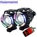 Huiermeimi 2PCS U7 5Color Motorcycle Headlight 12V 24V 125W LED Motorbike spotlight Moto Head Light Lamp Auxiliary Headlamp DRL