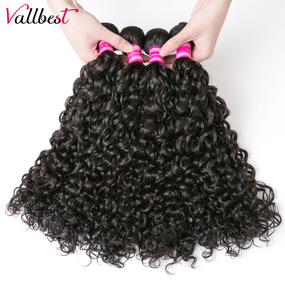 Vallbest Peruvian Water Wave 1 Bundle Human Hair Extensions 100g/Piece Natural Black 1B Remy Hair Weave Can Be Dyed Blenched