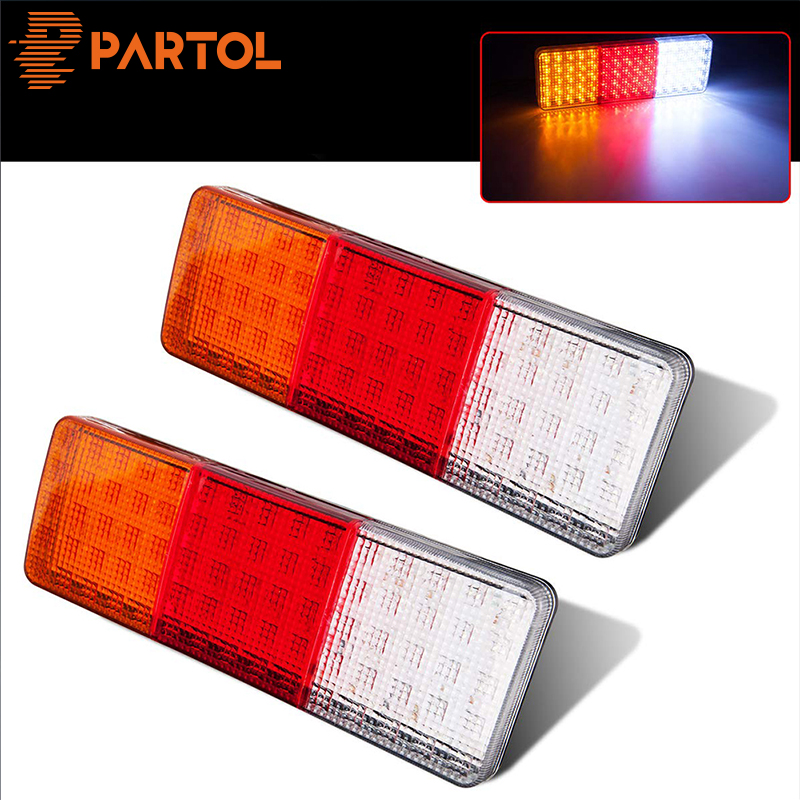 Partol 2pcs 75 LED Truck Trailer Light Indicator Stop Brake Reverse Tailight Rectangle For Utes Caravans Campers Buses Vans 12V image