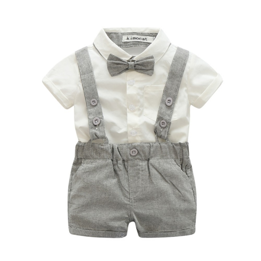 Baby Boy Clothing Sets Gentleman Boys Cotton T-shirt + Overalls Baby Suit Newborn Clothes Sets 3 Colors baby boys autumn clothes sets long sleeve shirt cotton suit toddler boy little gentleman bow tie kids costume christmas clothing