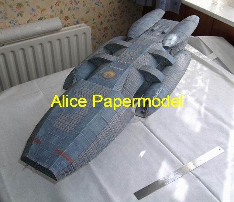 [Alice papermodel] Longest 1.4 meter BSG Battlestar Galactica battleship spaceship models
