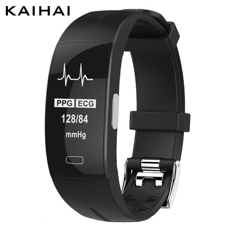 KAIHAI H66 presión arterial alta banda monitor PPG + ECG pulsera inteligente fitness tracker reloj inteligente trayectoria GPS