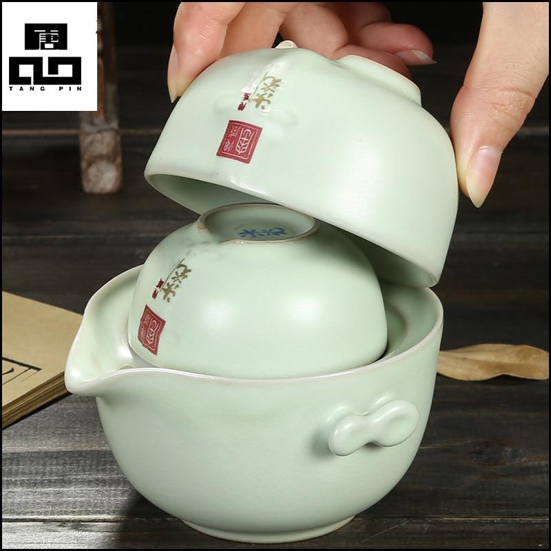 Porcelain 1 pot 2 cups Kung Fu Tea Set Quick Cup Tea Pot Gaiwan Ceramic TeaPot
