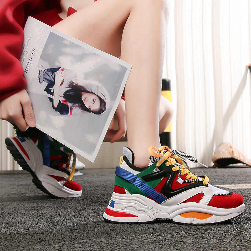 Women Sneakers 2019 Multi Color Thick