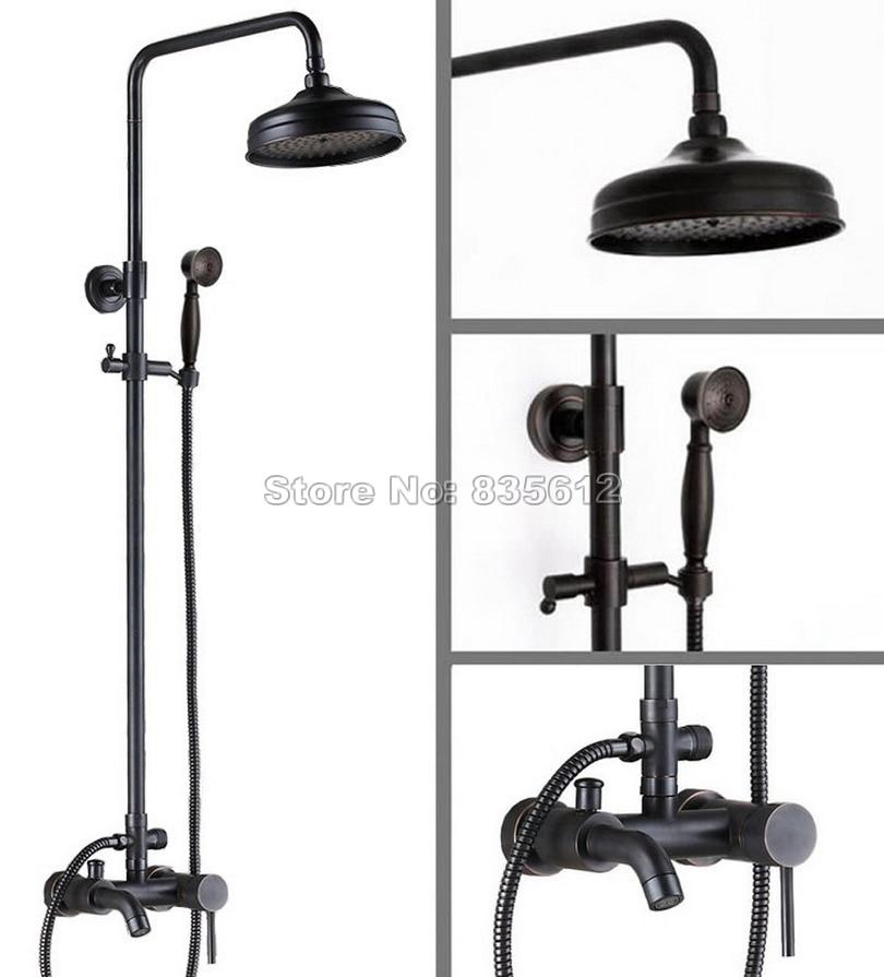 Bathroom Black Oil Rubbed Bronze Rain Shower Faucet Set with Hand Spray + Wall Mounted Single Handle Bathtub Mixer Taps Wrs044
