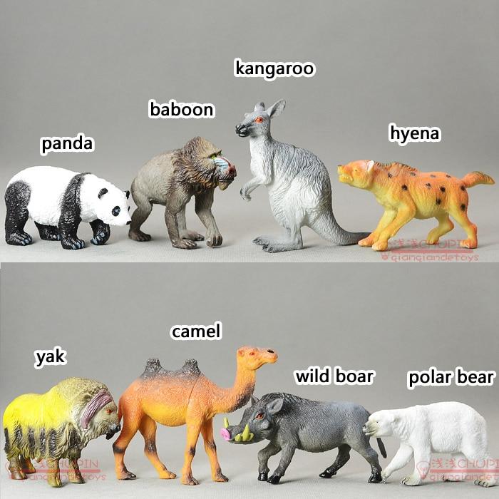 (8 pieces/set) High Imitation Animal Model Set panda/baboon/kangaroo/camel/wild boar/yak/hyena Hollow Toy Figure Free Shipping
