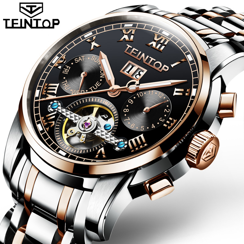 Automatic Watches Men Luxury Brand TEINTOP Business Water Resistant Stainless Steel Strap Rose gold Black Mechanical Watch MensAutomatic Watches Men Luxury Brand TEINTOP Business Water Resistant Stainless Steel Strap Rose gold Black Mechanical Watch Mens