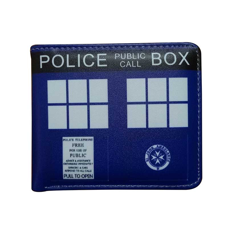 Doctor Who Police Box Design Wallets PU Leather Purse With Card Holder Zipper Coin Pocket Creative Gift Dollar Price Fold Wallet