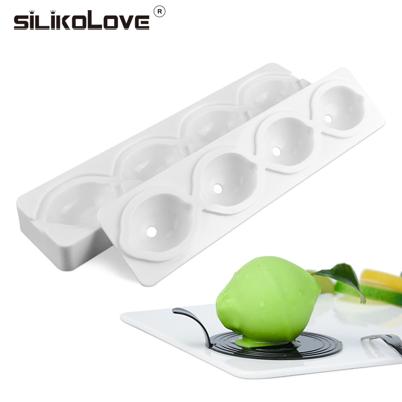 SILIKOLOVE 4 Cavity Lemon 3D Mods Mousse Fruit Non-stick Microwave Safe FDA Heat-Resistant Cake Mold Silicone Candy Molds